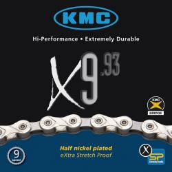 Chaîne vélo 9 vitesses KMC X9-93 - Traitement Nickel