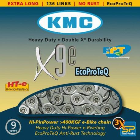 Chaîne vélo électrique 9 vitesses KMC X9-E EPT - Anti-rouille