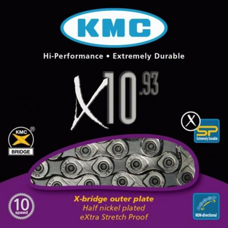 Chaîne vélo 10 vitesses KMC X10-93 - Traitement Nickel
