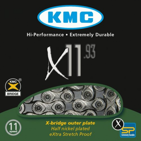 Chaîne vélo 11 vitesses KMC X11-93 - Traitement Nickel