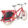 Vélo cargo Yuba Boda Boda rouge vue 3/4 arrière