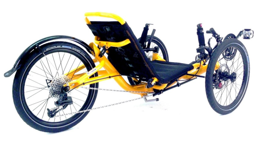 Zoom sur le tricycle couché Catrike Trail 2014 pliable