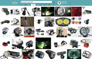 Recherche Google éclairage vélo avant puissant