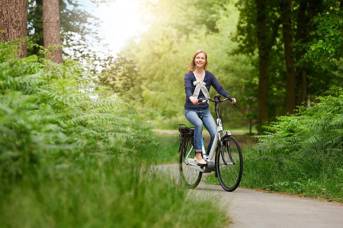 Cycliste en train de pédaler dans la forêt