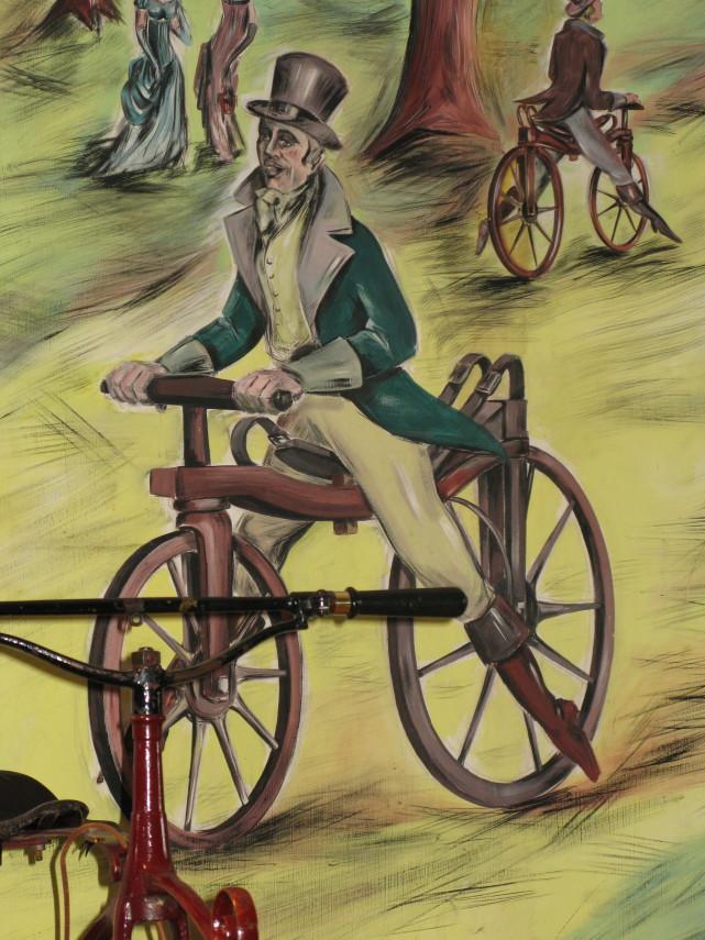 Tableau représentant une draisienne inventée par karl drais