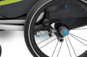 Gros plan sur bouton bleu pliage des roues remorque Thule Chariot 2017