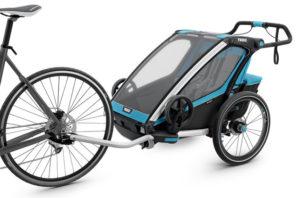 Remorque thule chariot sport tractée par un vélo