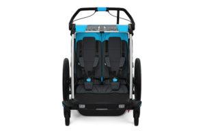 Vue de l'intérieur d'une remorque velo enfant thule chariot sport