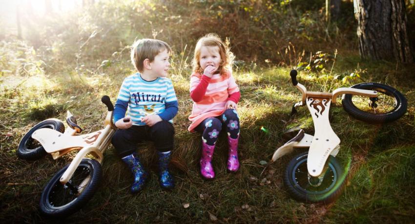 Deux enfants assis en forêt près de leur draisienne