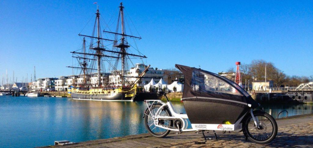 Vélo cargo Urban arrow sur le port de la rochelle