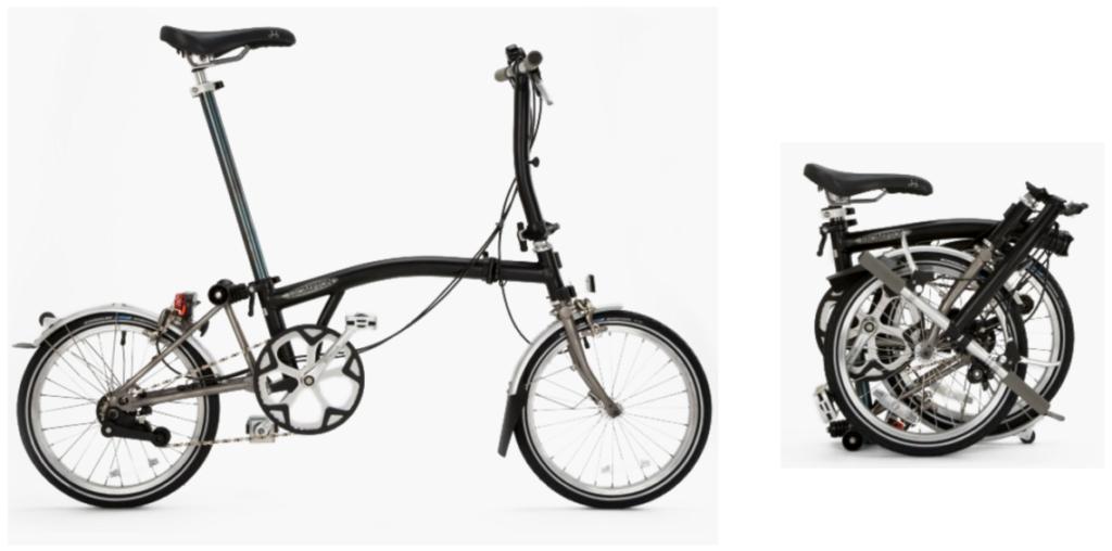 Vue vélo pliable Brompton plié et déplié
