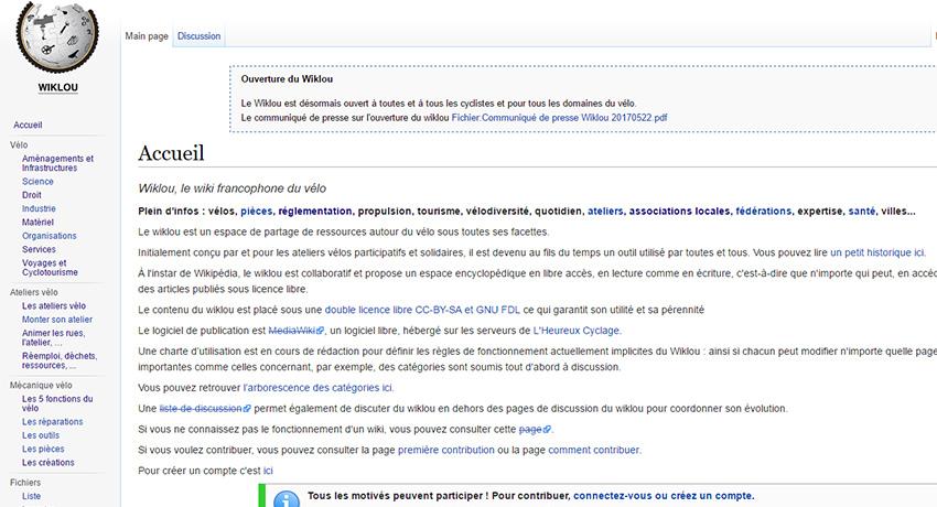 Nouveau : l'encyclopédie du vélo Wiklou