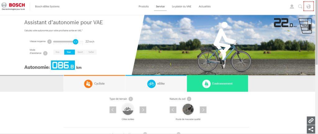 Capture d'écran site assistant autonomie bosch