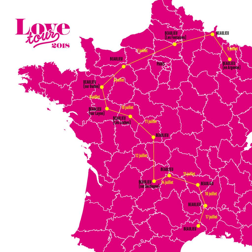 Carte indiquant le trajet du Love Tour 2018