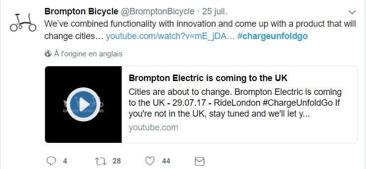 Tweet de Brompton annonçant la sortie du brompton electrique