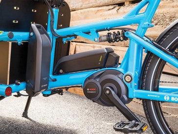 Vélo cargo avec double batterie Bosch
