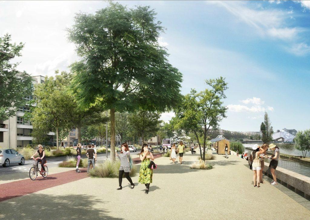 Projet declassement A7 Lyon Mulatière - piste cyclable