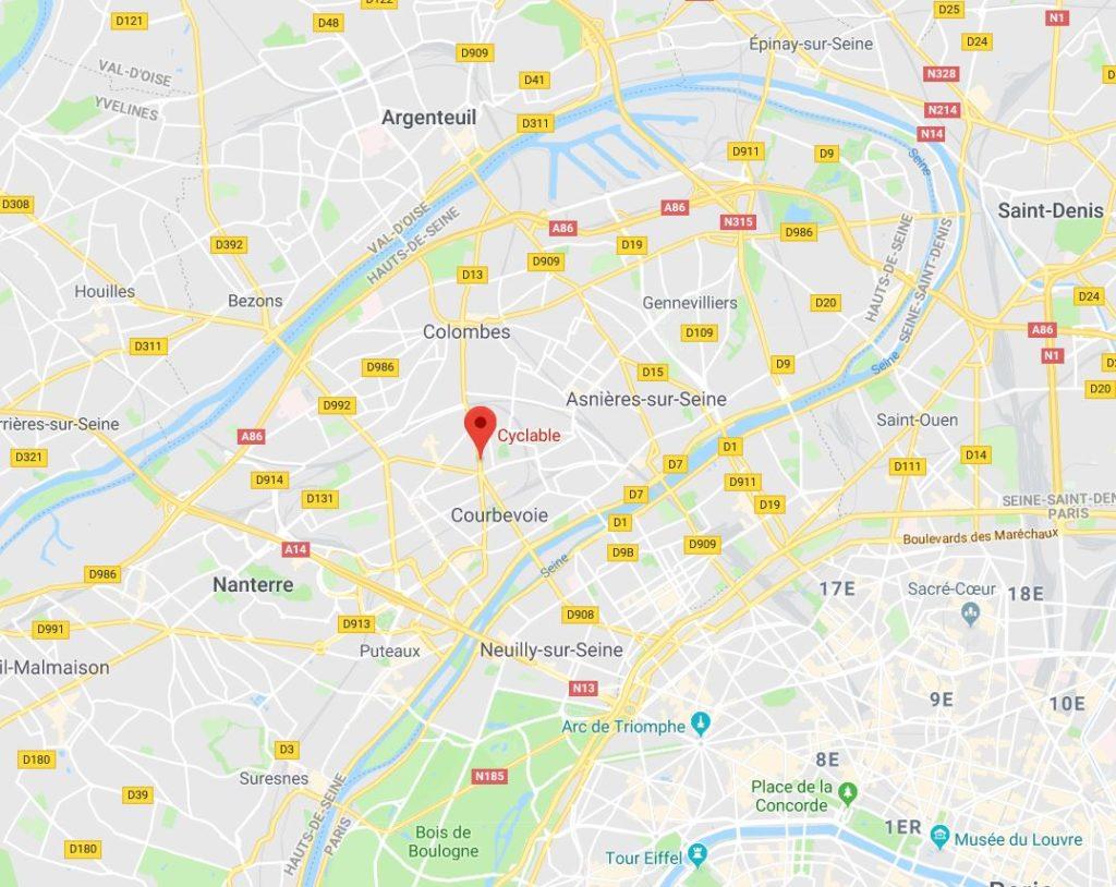 Carte Google Maps montrant l'emplacement de la Garenne Colombes