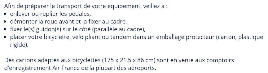 Capture d'écran site Air France indiquant comment conditionner son vélo avant de monter en avion