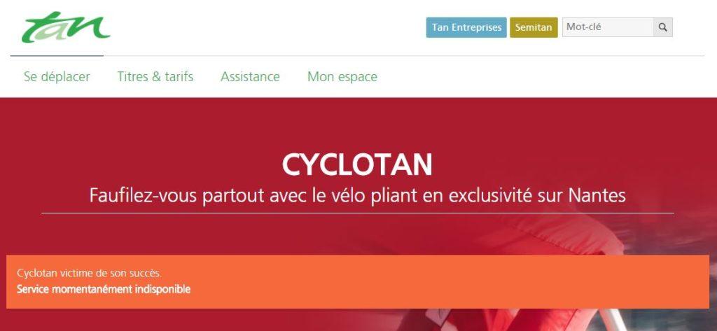 Capture d'écran site TAN Nantes montrant le service indisponible