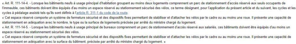Extrait du décret du 250711 sur les obligations en matière d'installation de garage à vélo dans les bâtiments neufs