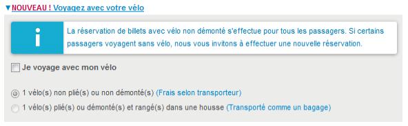 Capture d'écran site SNCF réservation de billet avec vélo