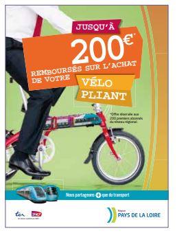 Affiche présentant la subvention de 200 euros achat vélo pliant dans les Pays de la Loire