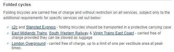 Capture d'écran de la page indiquant les modalités de voyage avec un vélo au Royaume-Uni