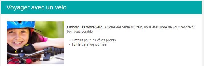 Capture d'écran site SNCB indiquant les modalités de transport d'un vélo dans les trains belges
