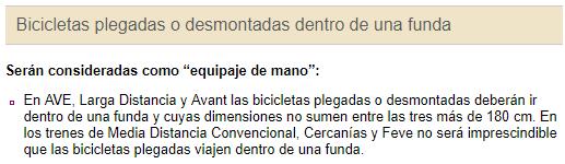 Capture d'écran indiquant les modalités de transport de vélo dans un train espagnol