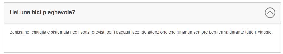 Capture d'écran site Trenitalia concernant le transport de vélo dans le train en Italie