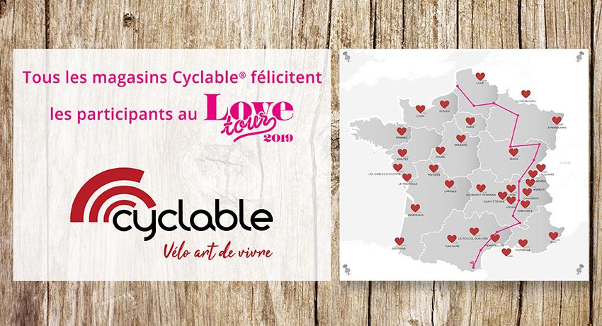 Carte des magasins Cyclable et du parcours Love Tour 2019