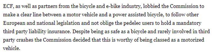 Capture d'écran site bike.eu sur la possible évolution de la législation sur les vélos électriques