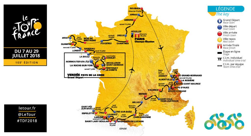 Carte indiquant les villes-étapes du Tour de France 2018