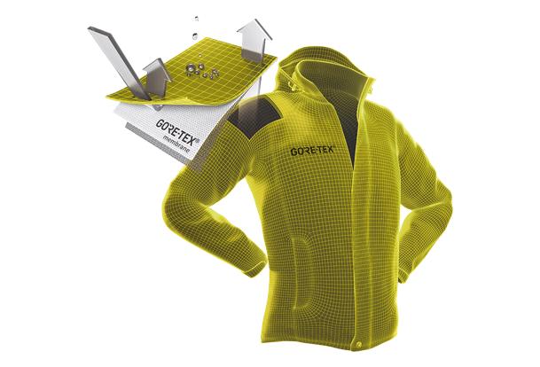 Image de synthèse montrant la technologie Gore-Tex sur une veste cycliste