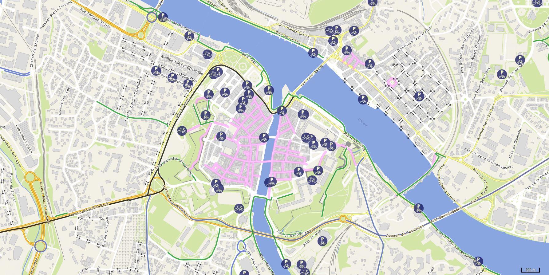 Plan des parkings à vélo à Bayonne