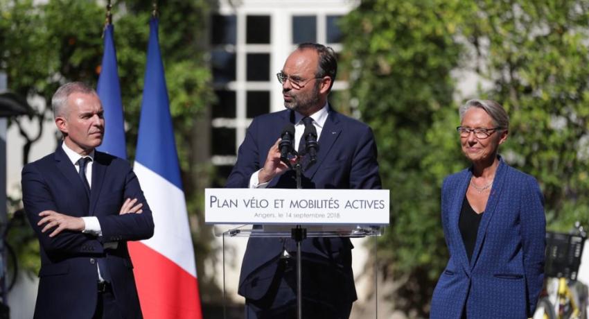 Edouard Philippe annonçant le plan vélo 2018