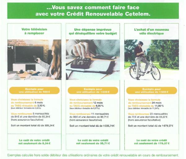 Flyer d'un organisme de crédit donnant l'exemple d'un crédit consommation pour l'achat d'un VAE