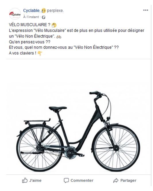 Post débat velo musculaire page Facebook Cyclable