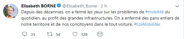Tweet Elizabeth Borne : sortir du tout voiture