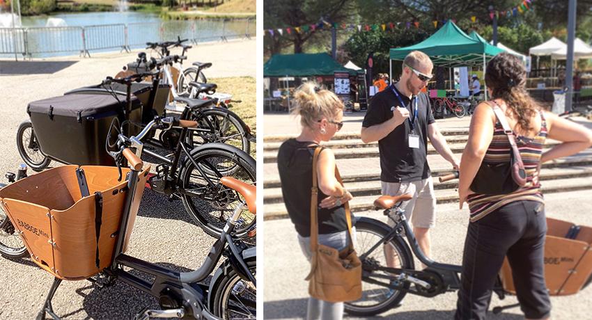 Vendeur avec clientes pendant la journée cargo à Toulouse