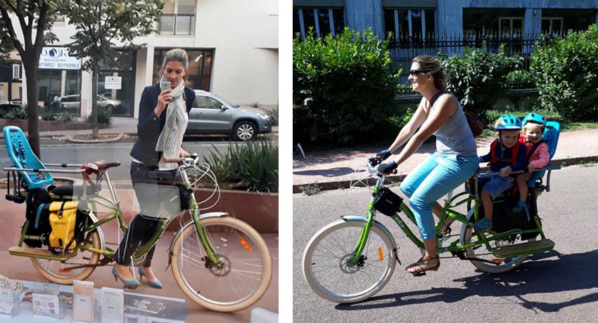 Une maman sur son vélo cargo Yuba Boda-Boda