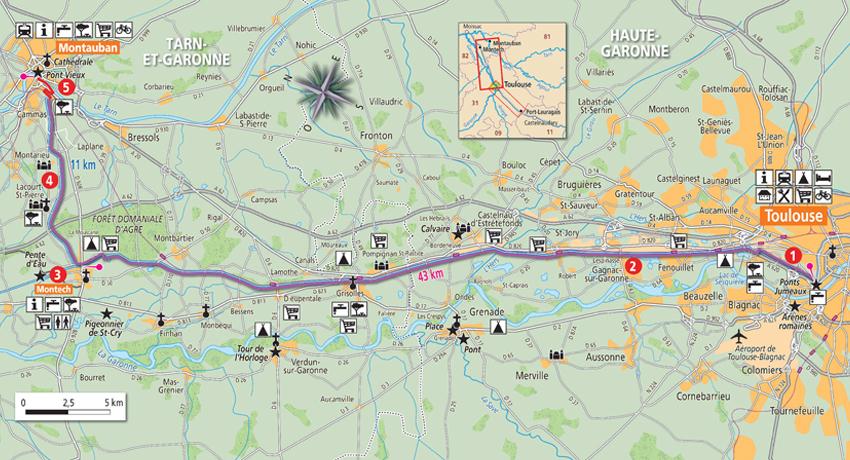 Carte extraite du guide vélo Echappées cyclables
