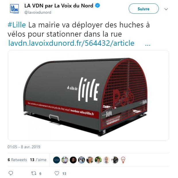 tweet indiquant le déploiement de stationnement vélo sécurisé à Lille