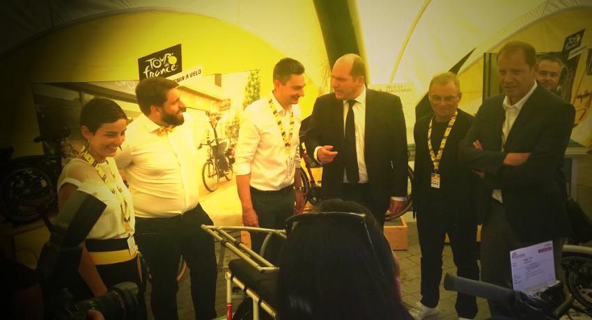 Christian Prudhomme sur le stand de Cyclable aux Ateliers du Tour 2019