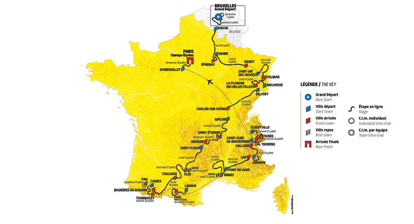 Carte du parcours du Tour de France 2019