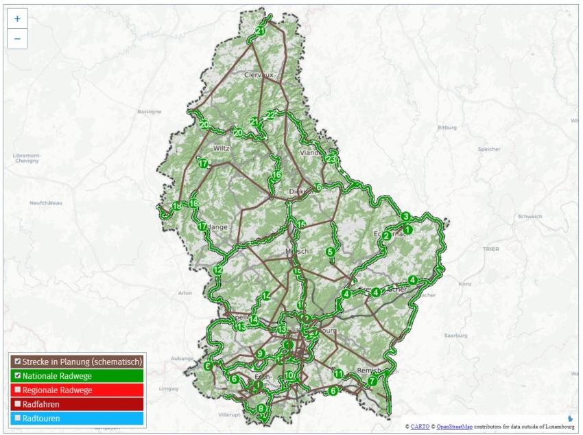 Plan du réseau de pistes Cyclable au Luxembourg