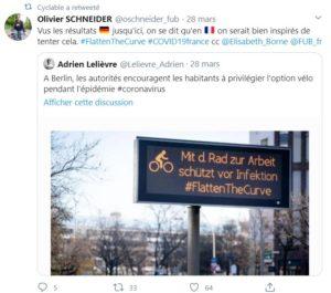 Tweet montrant une photo incitant les cyclistes à rouler en Allemagne durant le confinement