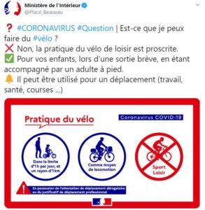 Communication officielle ministère pour l'utilisation du vélo en période covid-19