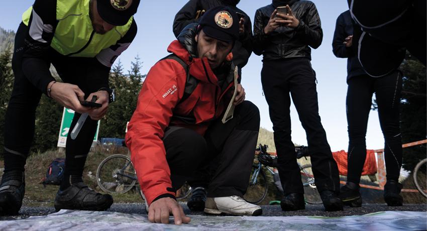 Equipe de cyclistes durant la Chilkoot